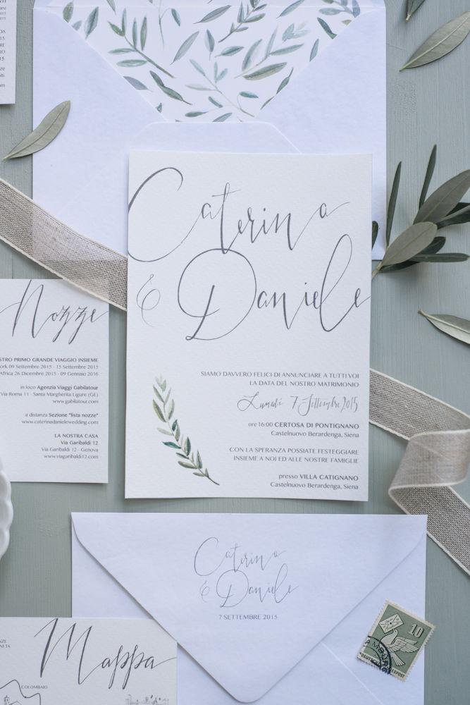 Caterina daniele inviti matrimonio nozze ulivo studio alispi for Inviti per matrimonio