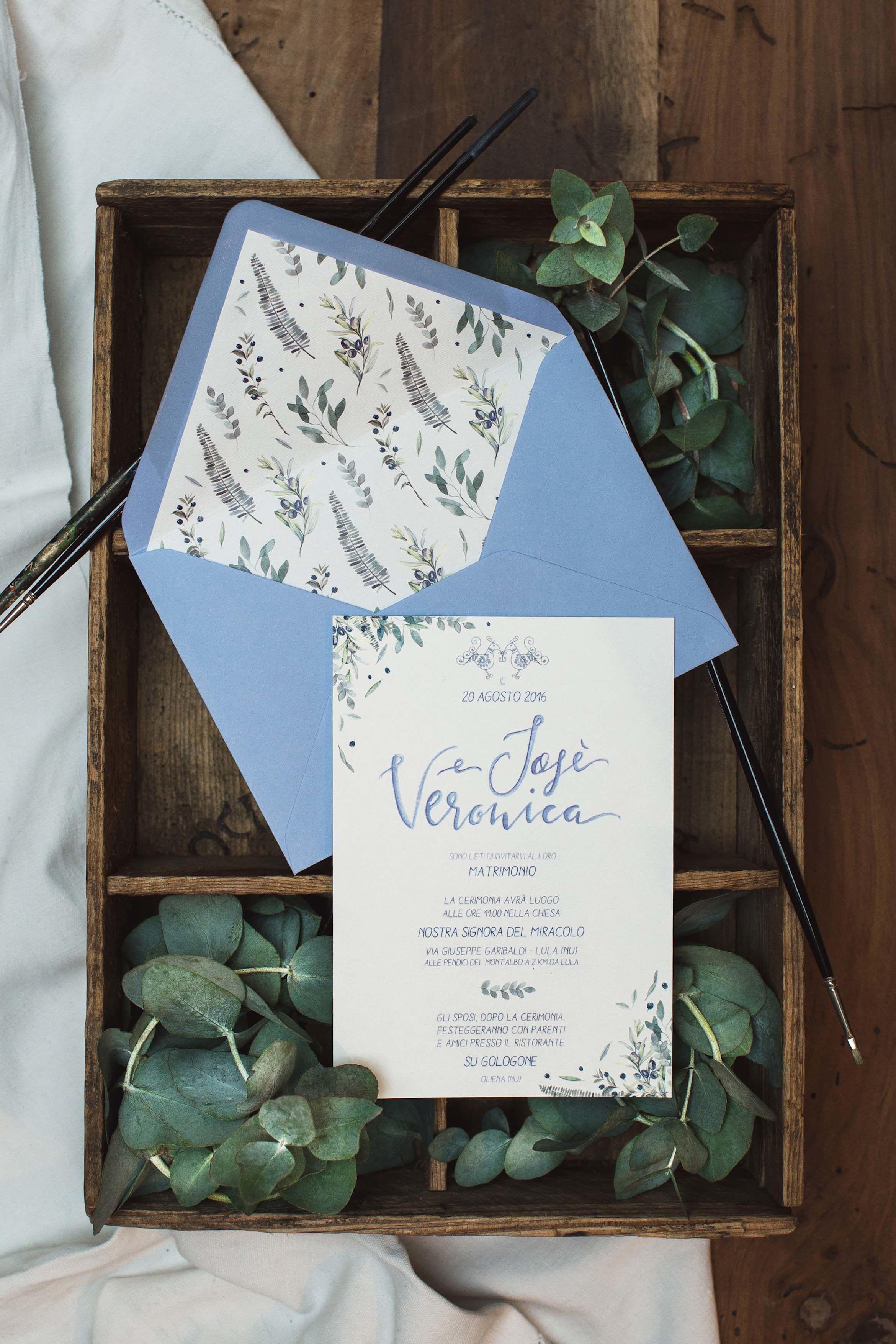 Partecipazioni Matrimonio Azzurro : Invito matrimonio personalizzato azzurro acquerello studio alispi