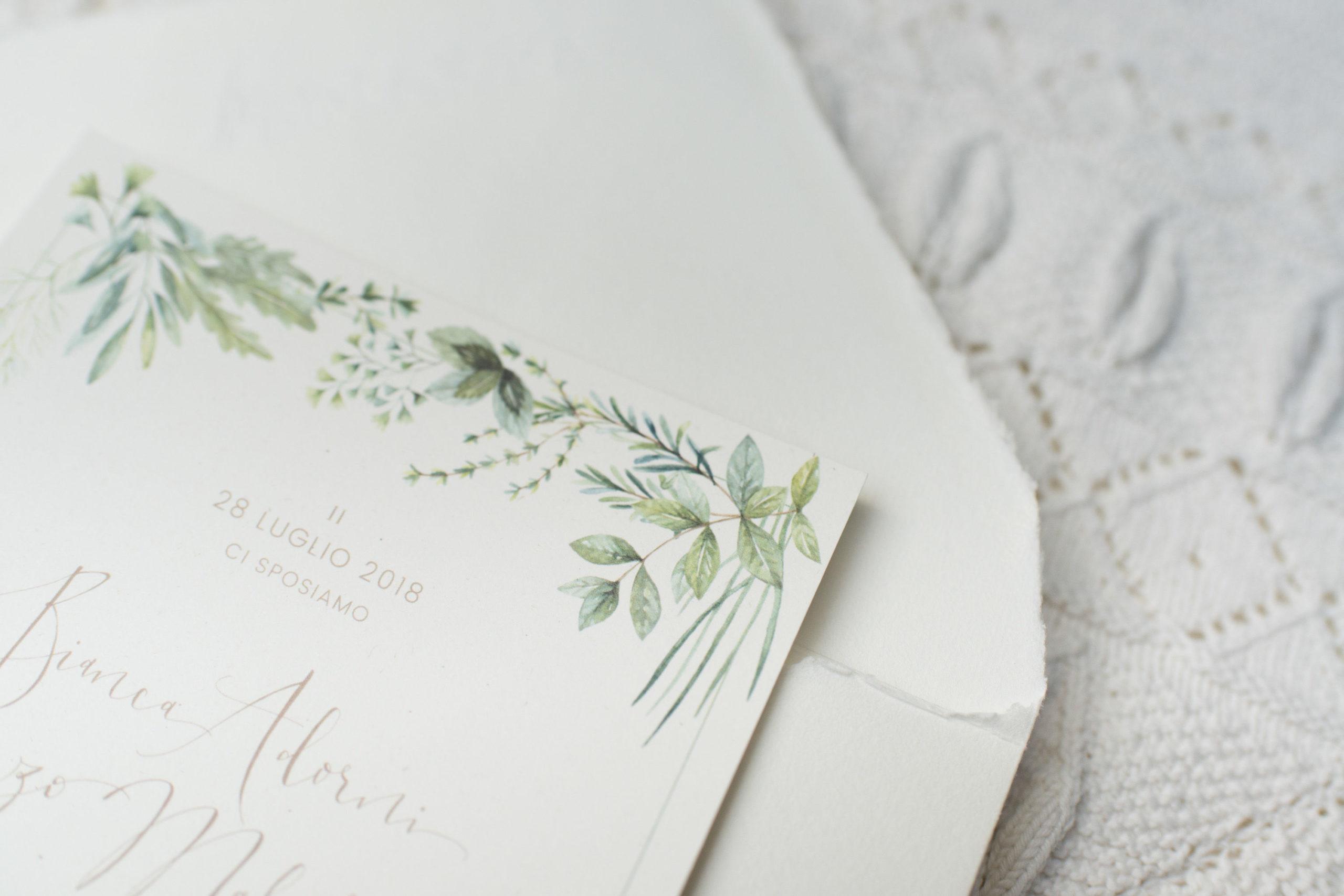 Partecipazioni Matrimonio Acquerello.Acquerello Matrimonio Erbe Aromatiche Partecipazioni Studio Alispi