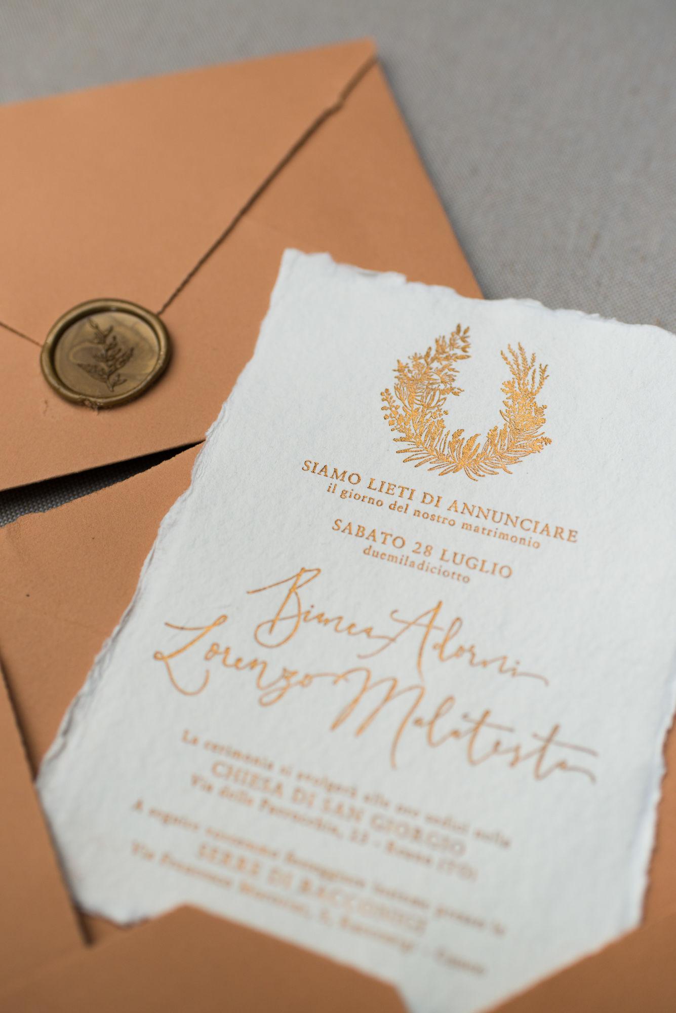 Partecipazioni Matrimonio On Line Low Cost.Partecipazioni Matrimonio Rame Floreale Terracotta Studio Alispi